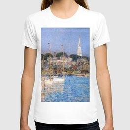 Classical Masterpiece 'Cat Boats - Newport Harbor, Newport, Rhode Island' by Frederick Childe Hassam T-shirt