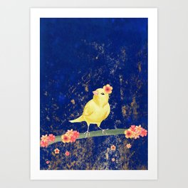 Canary on Branch with Flowers Art Print