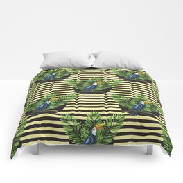 Toucan and banana leaves on the striped background seamless pattern. Exotic tropical background. Comforters