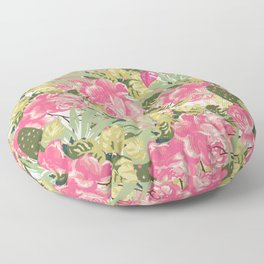 Country botanical pink forest green roses floral greenery Floor Pillow