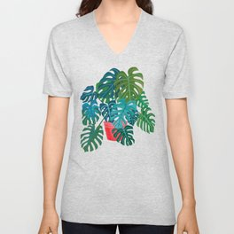 Split Leaf Philodendron Houseplant Painting Unisex V-Neck