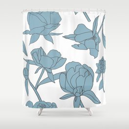 Roses in Blue Shower Curtain