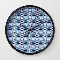batik Wall Clocks featuring Blue Batik by Elena Indolfi