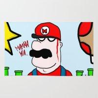 super mario Area & Throw Rugs featuring Super Mario by Di Leo Comics