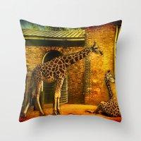giraffes Throw Pillows featuring Giraffes by LudaNayvelt