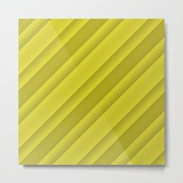 Shades Of Yellow Diagonal Stripes Metal Print