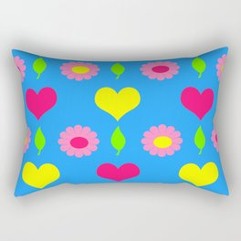 Daisy and heart print, turquoise, pink and yellow Rectangular Pillow
