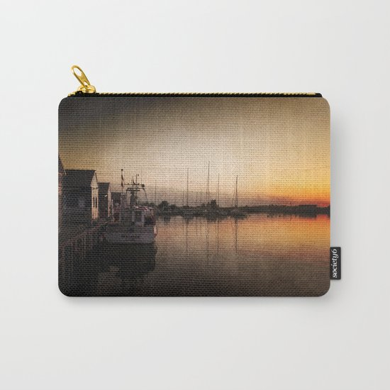 Landing stage - Sundown Harbour Boat at Sea #Society6 Carry-All Pouch