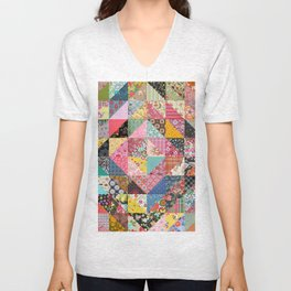 Cube Motif Abstract Unisex V-Neck