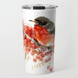 American Robin and Berries Travel Mug