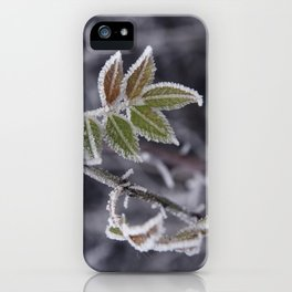 Frozen hoar frost covered winter leaves iPhone Case
