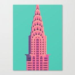 Chrysler Building New York Art Deco - Green Canvas Print