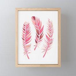 Watercolour Feathers - Coral, Blush and Rose Gold Framed Mini Art Print
