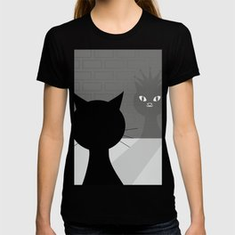 Black cat looks at his shadow #society6 #decor #buyart #artprint T-shirt