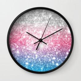 Galaxy Sparkle Stars Cotton Candy Wall Clock