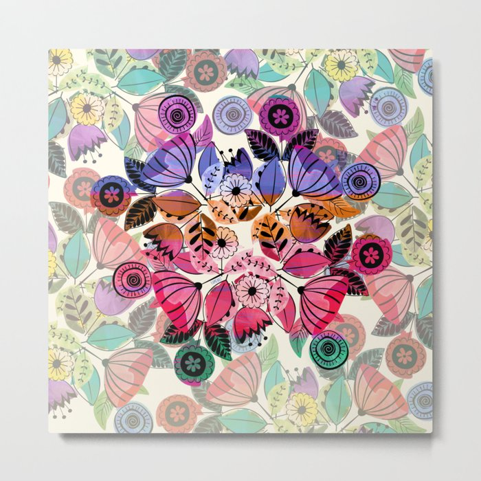 Pink and indigo flower pattern Metal Print