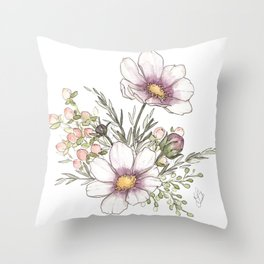 Purple Cosmos Flowers - Watercolor Throw Pillow