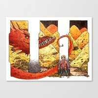 smaug Canvas Prints featuring Smaug by CatInSpats