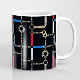 Gold chains, straps on black. Coffee Mug