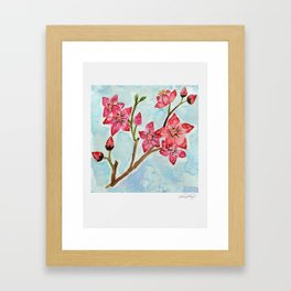 Cherry Blossom Floral Watercolor Framed Art Print