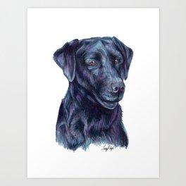 Black Labrador Retriever - Dog Portrait Art Print
