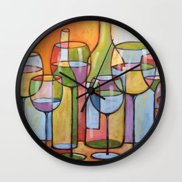 Abstract Art Wine Glasses Alcohol Bar Painting ... Time to Relax Wall Clock