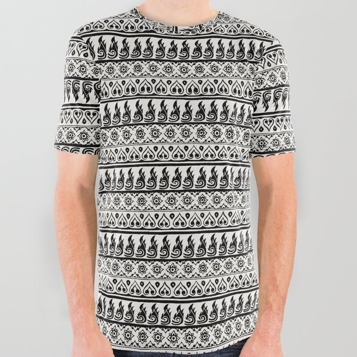 Thai Fabric Patterns - Black and White All Over Graphic Tee