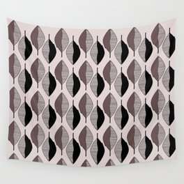 Mauve & black leaves Wall Tapestry