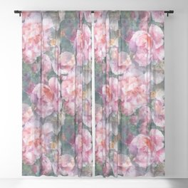 Pink floral pattern Sheer Curtain