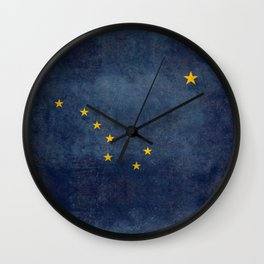 Alaskan State Flag in grungy textures Wall Clock