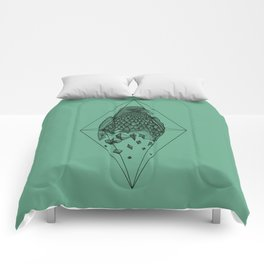 Geometric Crow in a diamond (tattoo style - black and white version) Comforters