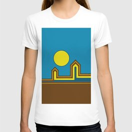 Line Houses with Yellow Sun T-shirt