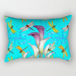 BLUE ART GOLDEN DRAGONFLIES CALLA LILIES Rectangular Pillow