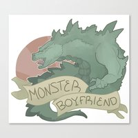 boyfriend Canvas Prints featuring Monster Boyfriend by Hannah Loewe - Lion & Goldfish