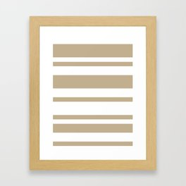 Mixed Horizontal Stripes - White and Khaki Brown Framed Art Print