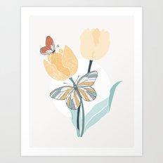 Butterflies and Tulips III Art Print