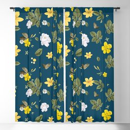Yellow Flowers & White Roses Blackout Curtain