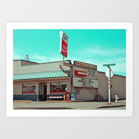 Corner cafe Art Print