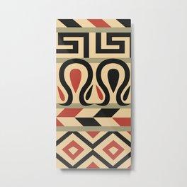 Ancient, Digital, Geometry, Geometric, Tripe, Culture, Pattern, Abstract, Egyptian-pattern, Native, Illustration, Egypt, Geometrical, Bakmannart, Ethnic, Native-art, Colorful, Art, Tribal, Design Metal Print
