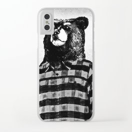 Lazy Hipster Bear Clear iPhone Case