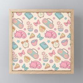Pink Cat Love Girly Pattern Framed Mini Art Print