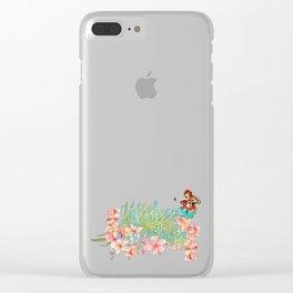Aloha- Alohabeaches with tropical flowers Palm leaf and Hula Girl Clear iPhone Case