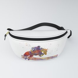 horse jumping fence Fanny Pack