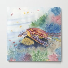 Sea Turtle and Friends Metal Print