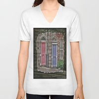 doors V-neck T-shirts featuring Dublins Doors by Christine Workman