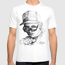 Digital Drawing #34 - Easy E in Black & White T-shirt