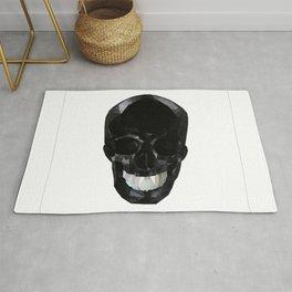 Skull Black Low Poly Rug