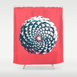 pine cone pattern in coral, aqua and indigo Shower Curtain