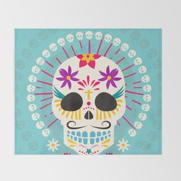 Dios De Los Muertos Day of the Dead Sugar Skull Fiesta Throw Blanket