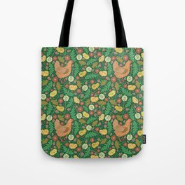 Orange hen with yellow chickens and dandelions on green background Tote Bag